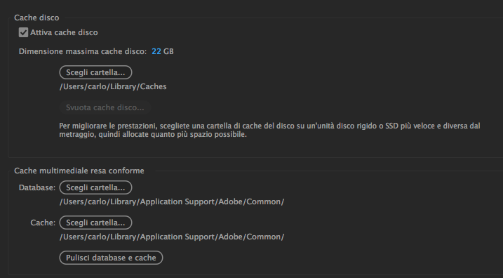 After Effects - impostazioni cache disco