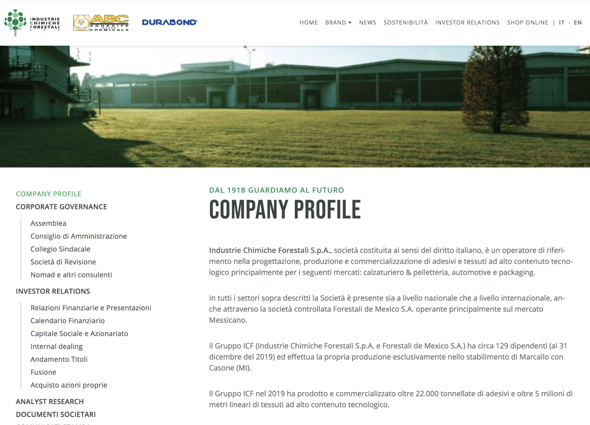 Industrie Chimiche Forestali – Investor Relations