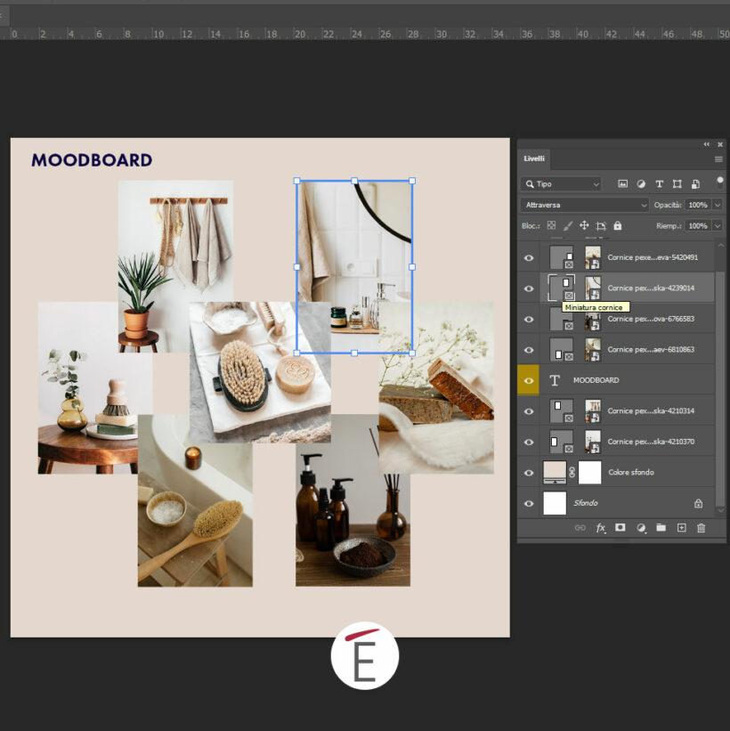 Un esempio di moodboard realizzata in Adobe Photoshop