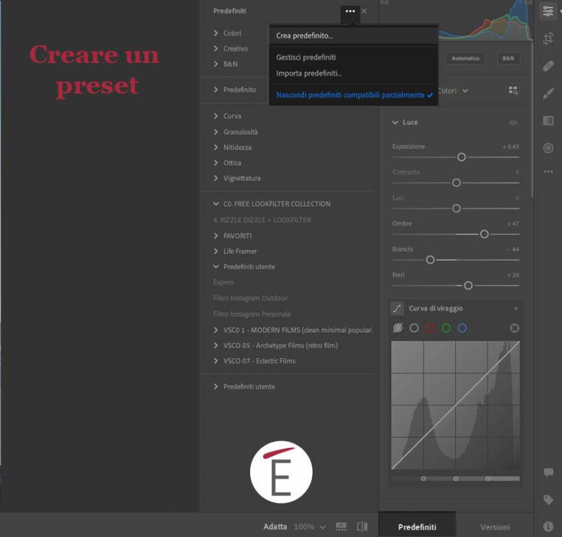 Crea un preset Lightroom