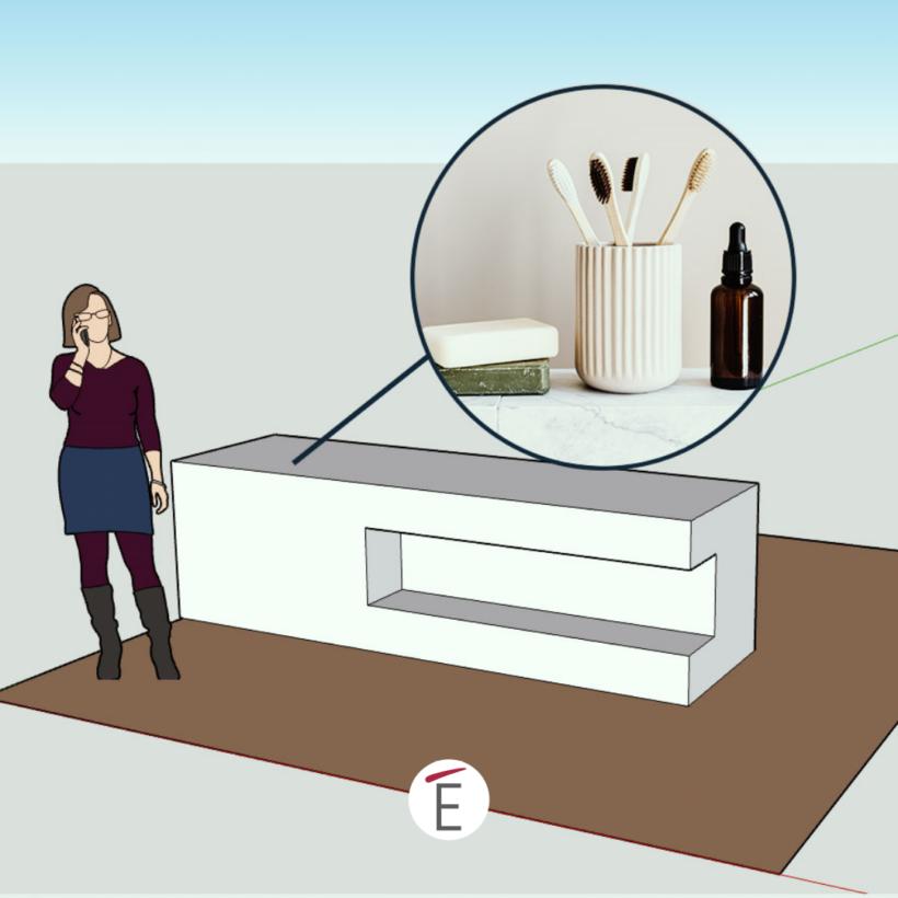 Una prova di posizionamento accessori in fase di progettazione dentro Sketchup