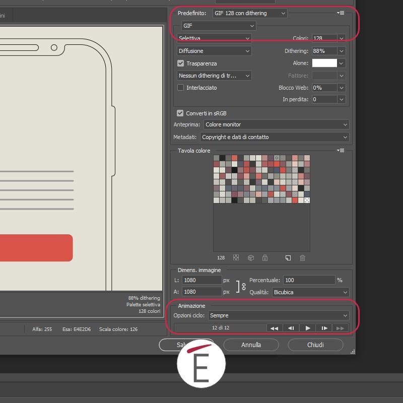 I parametri da scegliere per esportare una gif in Photoshop