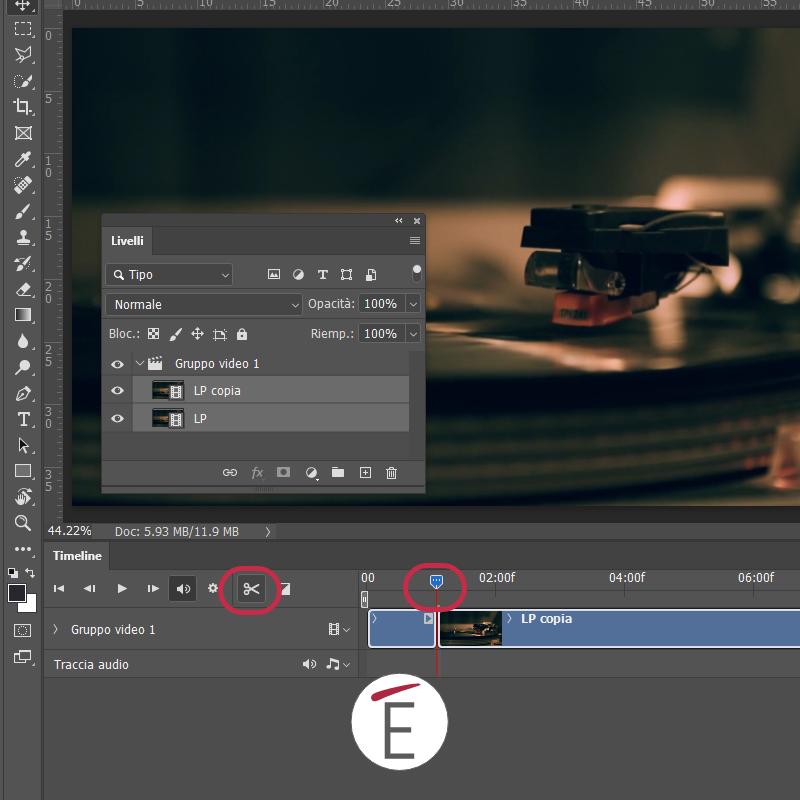 Sposta la testina nella timeline e usa le forbicine per tagliare il video alla durata che ti interessa