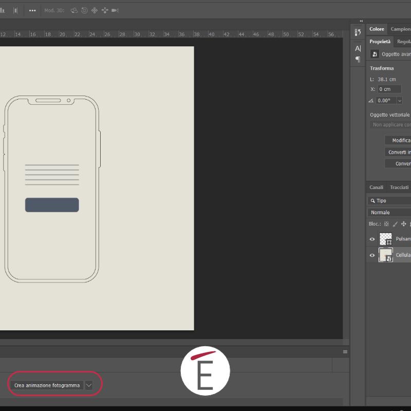 Trasforma la composizione a livelli in un'animazione a fotogramma in Photoshop